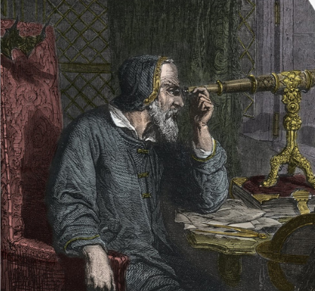 A portrait of Galileo Galilei with his telescope